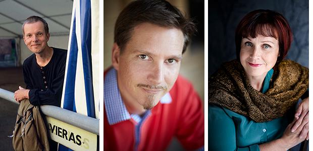 Jyrki Heikkinen (kuva: Irmeli Jung / Otava), Tatu Kokko (kuva: Mikko Mäntyniemi) ja Virpi Hämeen-Anttila (kuva: Mirva Kakko / Otava)